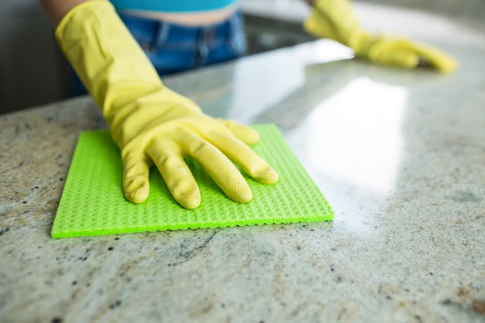 cleaning the counters